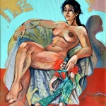 Akt fotelben, olaj, 1999 (90x80 cm)