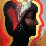 Menyasszony – Ikon, akril, szén, 2005 (80x70 cm)