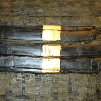 Fénystruktúrák I., 50x40, vászon, akril, aranyfüst