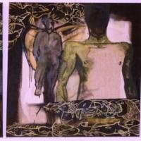 Crucifix, 100x100, triptichon, vászon, akril