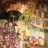 Libák Babilon község határában, 100x100, vászon, akril