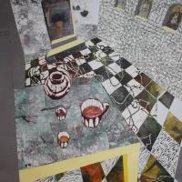Belső szoba, 50x70, kollázs